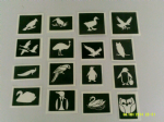 30 x bird themed stencils (mixed) for glitter tattoos / airbrush tattoos / henna / cakes / etching / many other uses  fund raising girls boys
